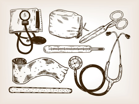 Doctor medical tools engraving vector illustration. Brown aged background. Scratch board style imitation. Hand drawn image.
