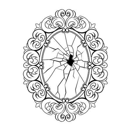 Broken mirror coloring book vector