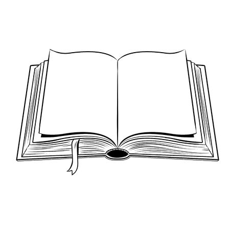 Open book coloring vector illustration Vectores