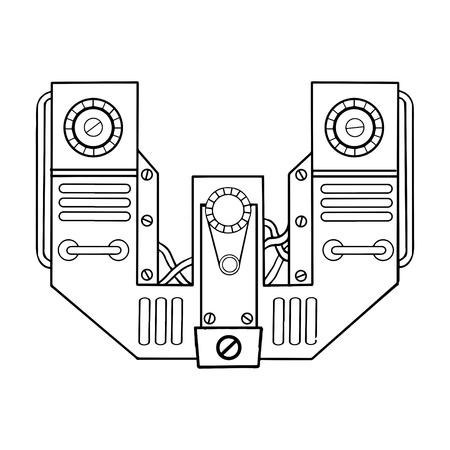 Mechanischer Buchstabe W, der Vektorillustration graviert. Gusskunst. Scratch Board Style Nachahmung. Hand gezeichnetes Bild. Standard-Bild - 92757803