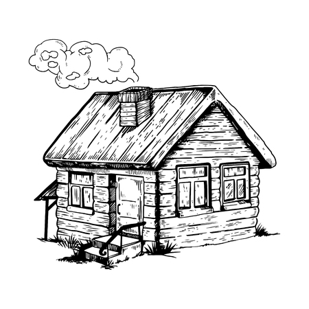 Village house engraving vector illustration. Country. Isolated image on white background. Scratch board style imitation. Hand drawn image. 向量圖像