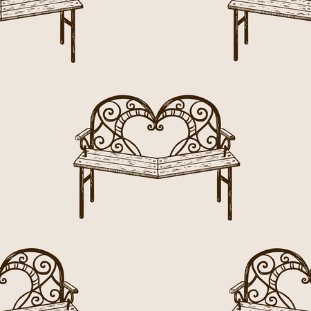 Reconciliation bench engraving seamless pattern vector illustration. Brown aged background. Scratch board style imitation. Hand drawn image.