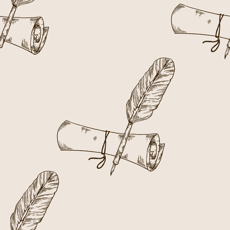 Ancient scroll and pen feather engraving seamless pattern vector illustration. Brown aged background. Scratch board style imitation. Hand drawn image.