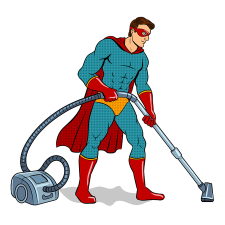 Superhero with vacuum cleaner pop art retro vector illustration. Isolated image on white background. Illusztráció