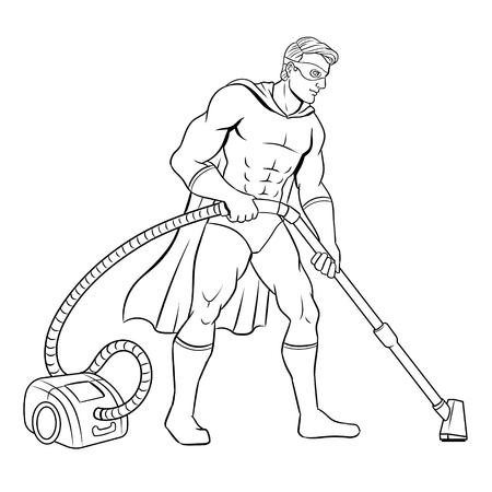 Superhero met stofzuiger kleurboek vectorillustratie. Geïsoleerde afbeelding op witte achtergrond. Stock Illustratie