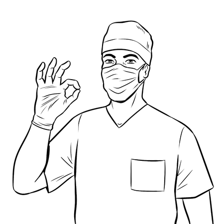 Doctor shows ok gesture coloring book vector illustration. Isolated image on white background. Comic book style imitation. Vettoriali