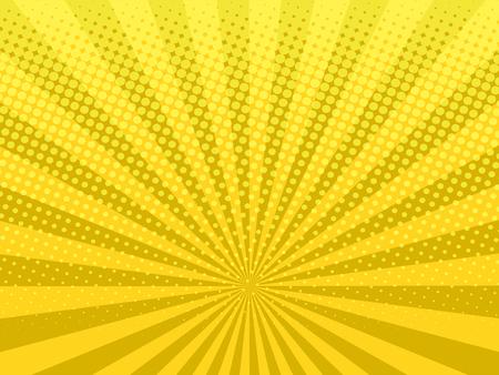 ●イエロー輝くハーフトーンデザイン背景レトロベクトルイラスト。