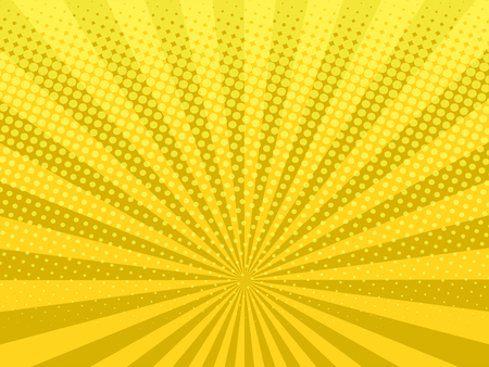 Yellow shining halftone design background retro vector illustration. Vettoriali