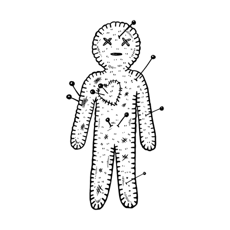 Voodoo doll engraving vector illustration. Isolated image on white background.