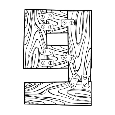 Wooden number 9 engraving vector illustration.