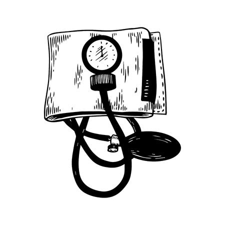 Medical blood pressure meter engraving vector Illustration
