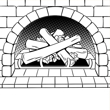 Fireplace with wood coloring book vector illustration. Isolated image on white background. Comic book style imitation. Illusztráció