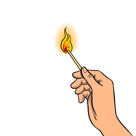 Hand with burned match pop art retro vector illustration. Isolated image on white background. Comic book style imitation. Çizim