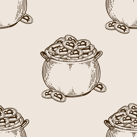 Pot of coins seamless pattern engraving vector