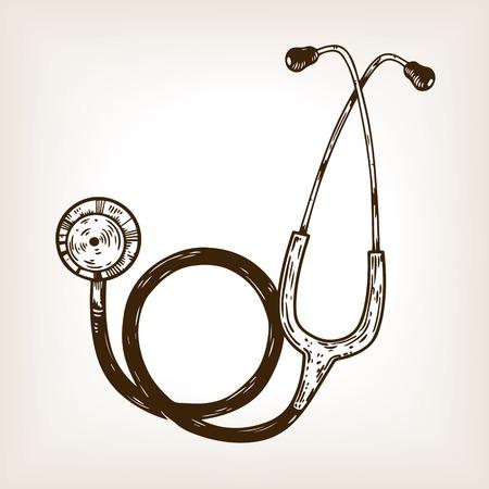Stethoscope engraving vector illustration