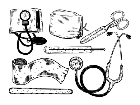 Doctor medical tools engraving vector illustration. White background. Scratch board style imitation. Hand drawn image.