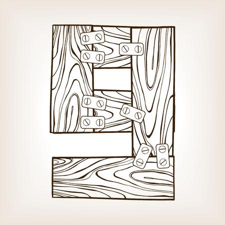 Wooden number 9 engraving vector illustration Illustration