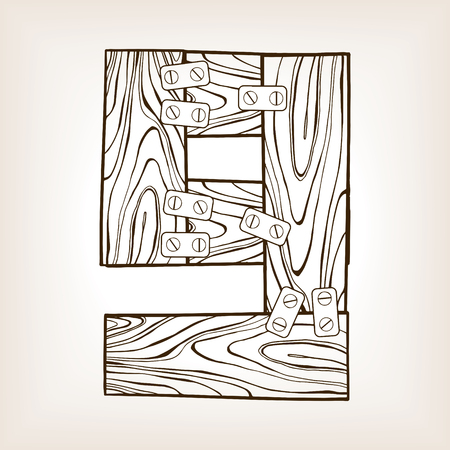 Wooden number 9 engraving vector illustration Фото со стока - 92953205