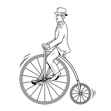 신사 타고 빈티지 자전거 색칠하기 책 벡터 일러스트 레이 션. 흰색 배경에 고립 된 이미지입니다. 만화 스타일 모방입니다.