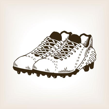 American football equipment engraving vector Ilustração