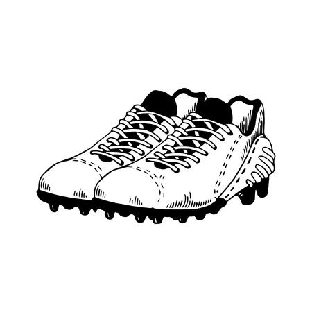 American football equipment engraving vector 일러스트