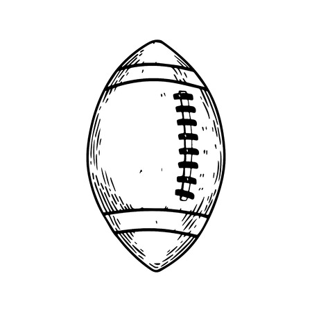 American football equipment engraving vector Illustration