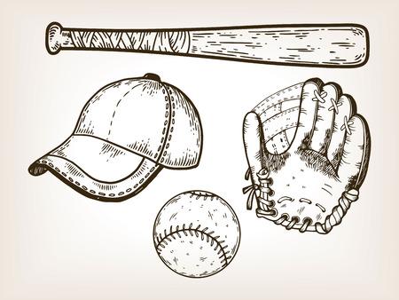 Baseball Sport Ausrüstung Gravur Vektor-Illustration. Brown im Alter von Hintergrund. Scratch Board Style Nachahmung. Hand gezeichnetes Bild.