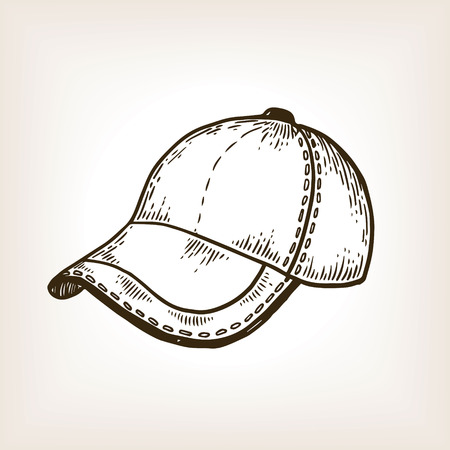 Baseball sport equipment cap engraving vector illustration. Brown aged background. Scratch board style imitation. Hand drawn image.