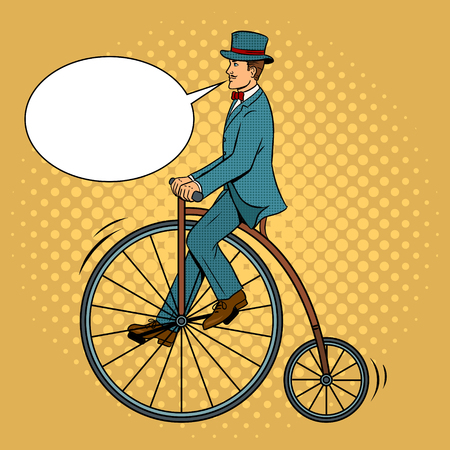 Gentleman ride vintage bicycle pop art vector Illustration