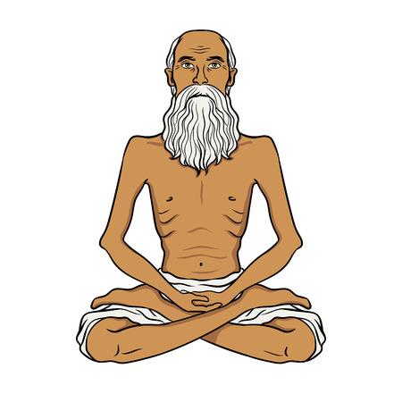 Old man meditating