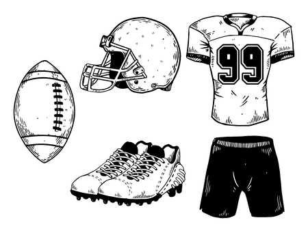 American football sport equipment engraving vector illustration. Isolated image on white background. Scratch board style imitation. Hand drawn image.
