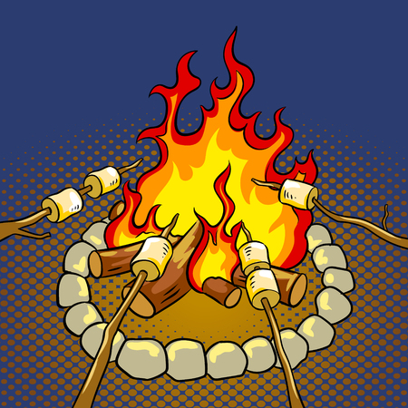 たき火ポップアートレトロベクトルイラストにマシュマロ。色の背景。コミックブックスタイルの模倣。