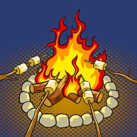 모닥불 모닥불에 팝 아트 복고풍 벡터 일러스트 레이 션. 색 배경입니다. 만화 스타일 모방입니다.