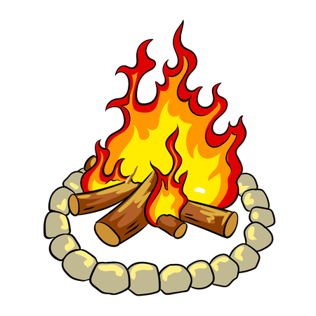 Bonfire pop art vector illustration