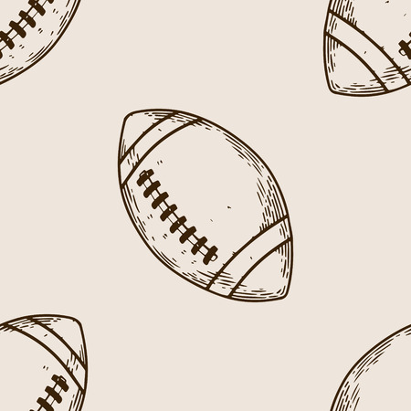 American football sport equipment ball engraving seamless pattern vector illustration. Brown aged background. Scratch board style imitation. Hand drawn image.