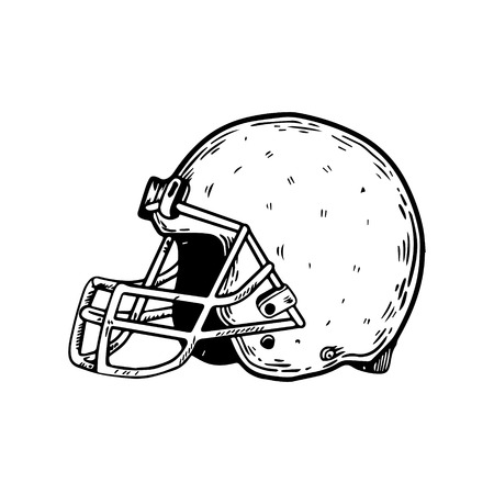 American football sport equipment helmet engraving vector illustration. Isolated image on white background. Scratch board style imitation. Hand drawn image.