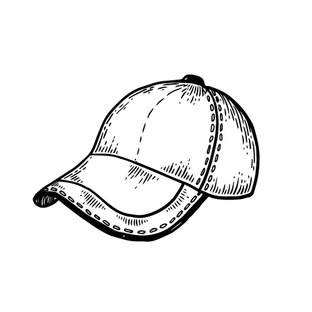 Baseball sport equipment cap engraving vector illustration. Isolated image on white background. Scratch board style imitation. Hand drawn image.