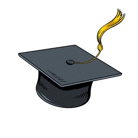 Square academic cap pop art vector illustration