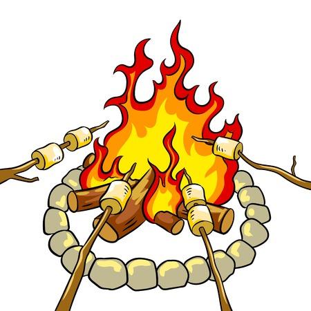 Marshmallow on bonfire pop art retro vector illustration. Isolated image on white background. Comic book style imitation. Vettoriali