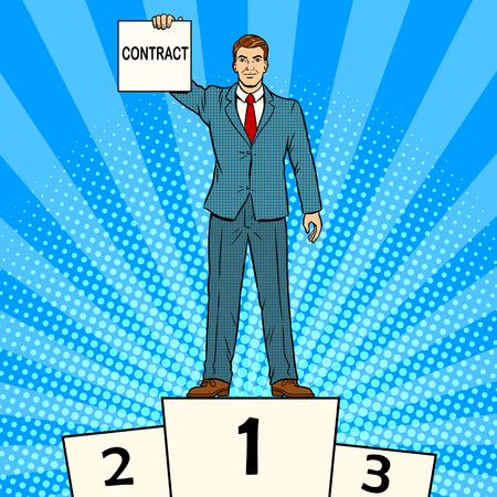 Businessman with contract. Pop art vector illustration.