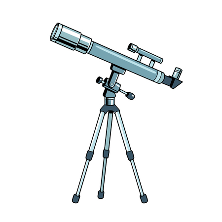 Telescope pop art retro vector illustration. Isolated image on white background.. Comic book style imitation. Vettoriali