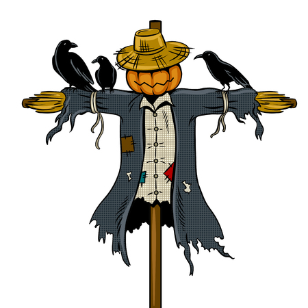 Scarecrow pop art vector illustration.