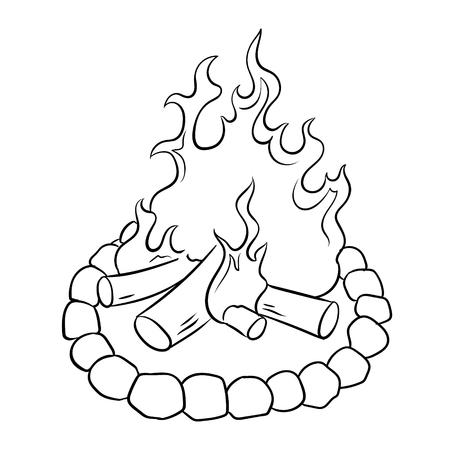 Bonfire coloring book vector illustration
