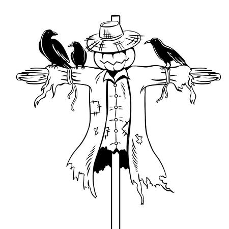 Scarecrow coloring book vector illustration. 일러스트