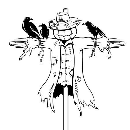 Scarecrow coloring book vector illustration. Ilustracja