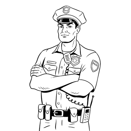 Policeman coloring book vector illustration.
