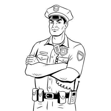Illustrazione di vettore del libro da colorare del poliziotto. Vettoriali