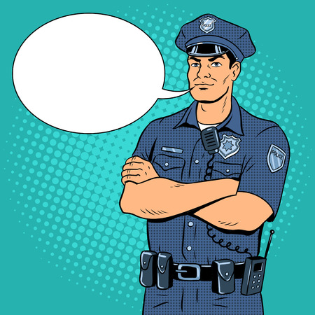 Policeman pop art vector illustration.