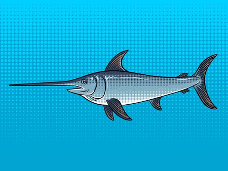 Zwaardvis popart vectorillustratie.