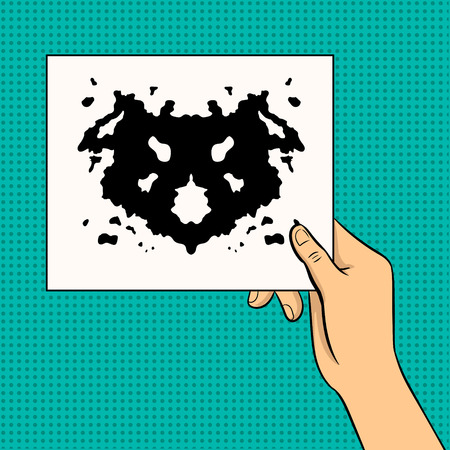 Rorschach test pop art vector illustration.